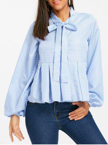 Latest Half Buttoned Plaid Flounce Shirt