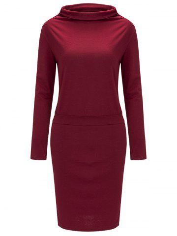 Store High Neck Long Sleeve Sheath Tight Dress