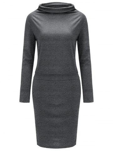 Discount High Neck Long Sleeve Sheath Tight Dress