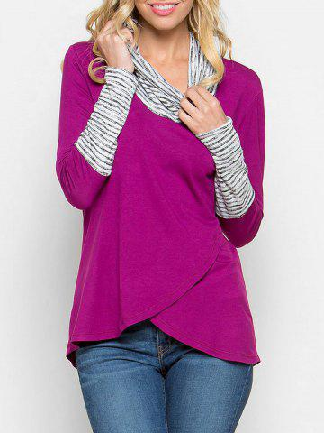 Affordable Stripe Panel Cowl Neck Tunic Tee