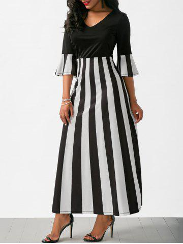 Chic V Neck Flare Sleeve Striped Long Dress