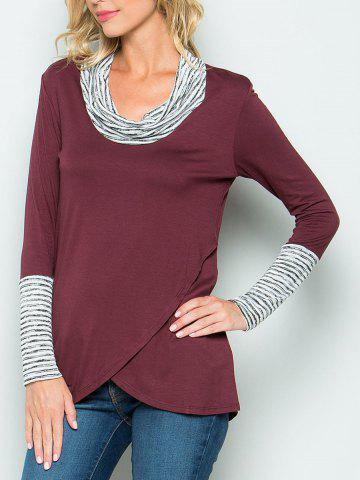 Hot Stripe Panel Cowl Neck Tunic Tee