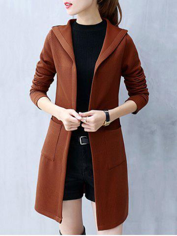 Online Knitted Hooded Tunic Cardigan