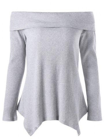 Outfits Off The Shoulder Long Sleeve Irregular Knitwear