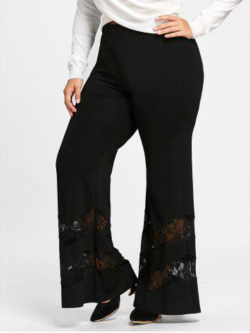 Chic Plus Size Lace Insert Trumpet Pants