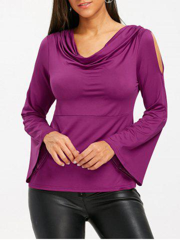 Online Cold Shoudler Cowl Neck Bell Sleeve T-shirt