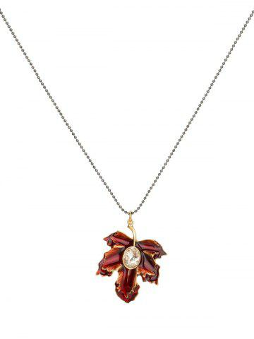 Discount Artificial Crystal Maple Leaf Pendant Necklace