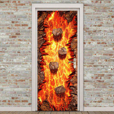 Store Lava Printed Environmental Removable 2Pcs Door Stickers