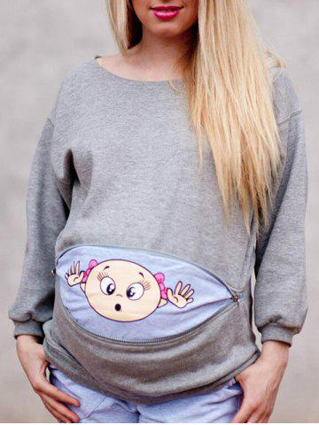Affordable Baby Printed Drop Shoulder Sweatshirt for Pregnant Women