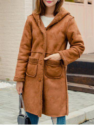 Online Front Pockets Faux Shearling Coat