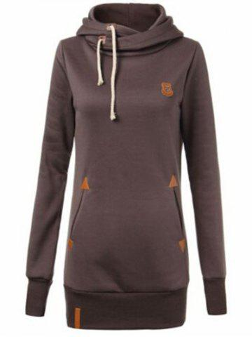 Sale Drawstring Badge Pattern Hooded Pullover Hoodie