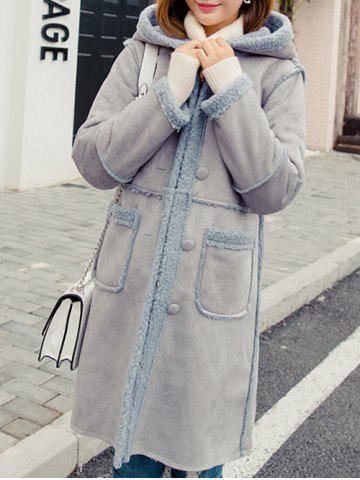 Chic Front Pockets Faux Shearling Coat
