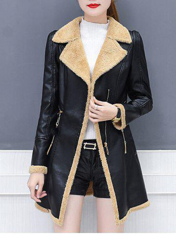 Best Lapel Collar Zipper Insert Faux Leather Coat