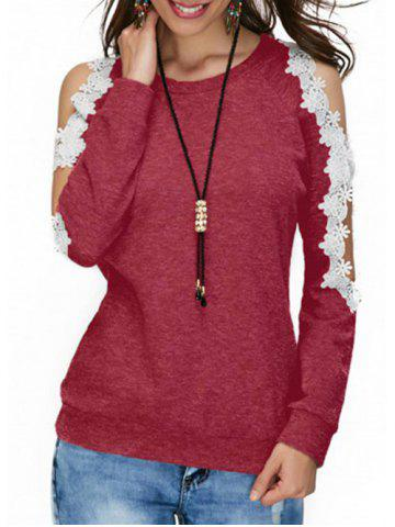 New Cold Shoulder Lace Panel T-shirt