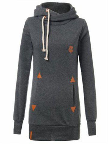 Fancy Drawstring Badge Pattern Hooded Pullover Hoodie