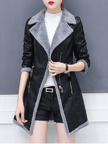 Trendy Lapel Collar Zipper Insert Faux Leather Coat