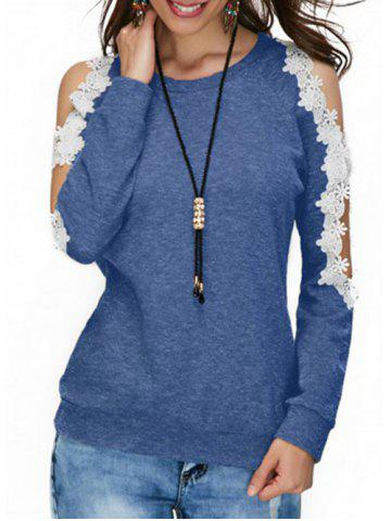 Outfits Cold Shoulder Lace Panel T-shirt