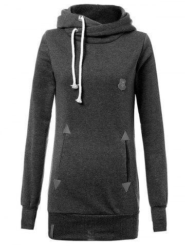 Outfit Drawstring Badge Pattern Hooded Pullover Hoodie