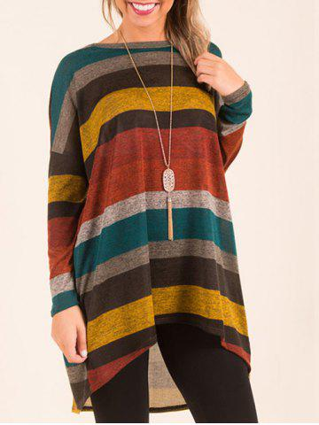 New Long Sleeve Color Block High Low Top