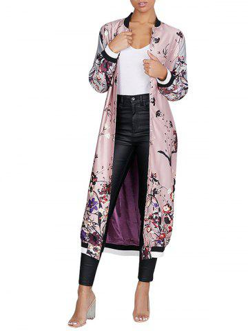 Chic Flower Printed Zip Up Long Coat