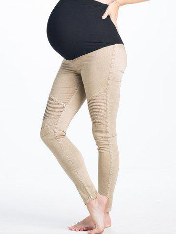 Unique High Waist Stripy Panel Ninth Pants for Pregnant Woman