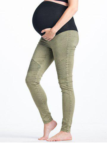 Fancy High Waist Stripy Panel Ninth Pants for Pregnant Woman