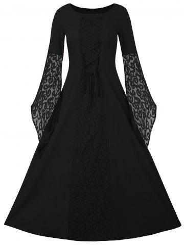 Lace Up Flare manches Maxi robe de bal