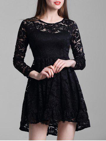 Online Round Neck Lace A Line Dress