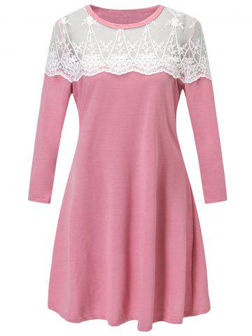 Cheap Lace Panel Tunic Dress