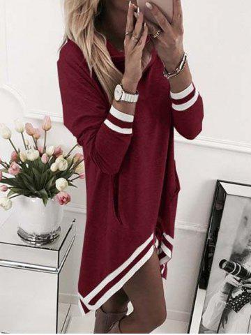 Online Stripe Trimmed Cowl Neck Hooded Dress