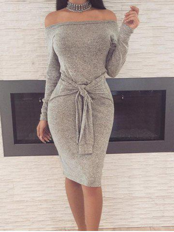 Discount Off The Shoulder Bodycon Dress with Belt