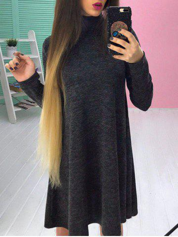 Fashion Long Sleeve High Neck A-line Dress