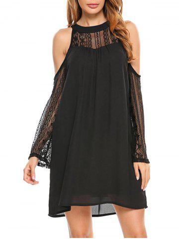 Chic Cold Shoulder Lace Panel Chiffon Dress
