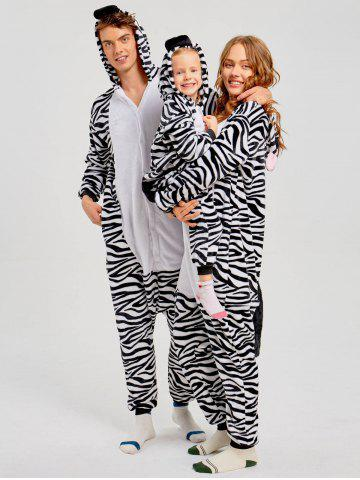 Family Zebra Animal Christmas Onesie Pajama - Zebra Stripe - Mom L
