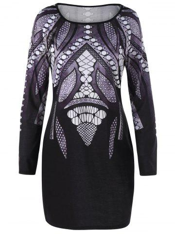 Shops Plus Size Graphic Long Sleeve Tee Dress