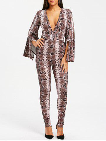 Chic Slit Bell Sleeve Snake Print Plunging Neck Jumpsuit