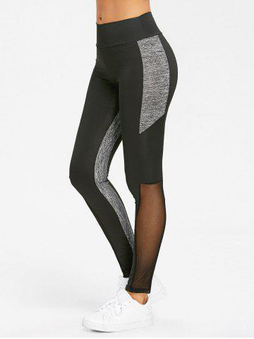 Trendy Mesh Heather Panel High Waist Yoga Leggings
