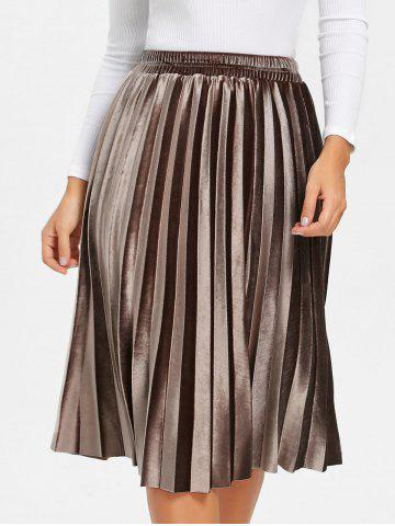 Sale Velvet High Waisted Midi Pleated Skirt
