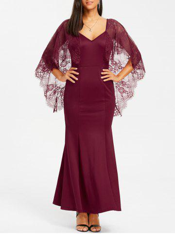 Outfit Lace Batwing Open Back Maxi Dress