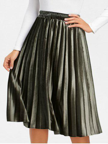 Outfits Velvet High Waisted Midi Pleated Skirt