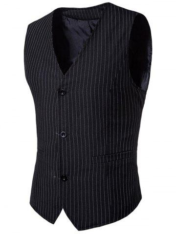 Unique V Neck Single Breasted Vertical Stripes Waistcoat