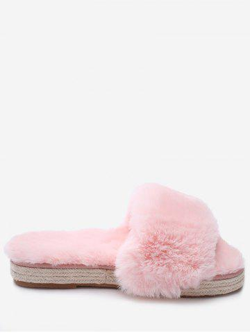 Trendy Faux Fur Strap Espadrille Sole Indoor Slippers