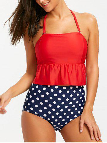 Cheap Peplum Halter Polka Dot High Waisted Swimsuit