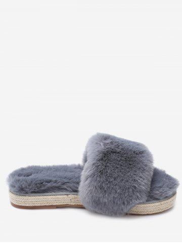 Hot Faux Fur Strap Espadrille Sole Indoor Slippers