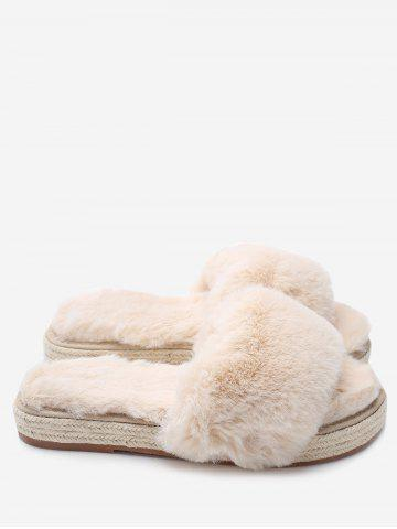 Fancy Faux Fur Strap Espadrille Sole Indoor Slippers