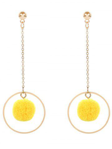 Fashion Metal Fuzzy Ball Chain Circle Earrings