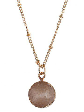 Store Round Natural Stone Pendant Necklace