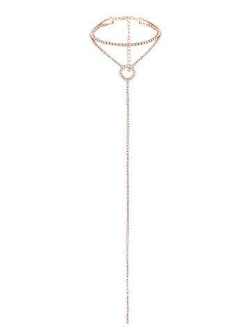 Collier Ras-de-Cou Long Pendante à Double Branches en Strass