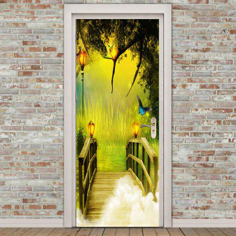Cheap Forest Lakeside Plank Bridge Printed Door Stickers