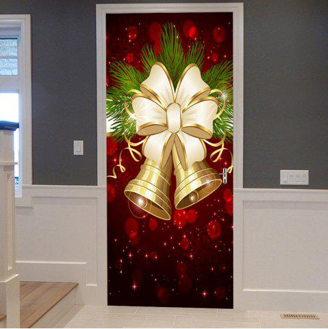 Buy Christmas Bells Bowknot Pattern Door Cover Stickers